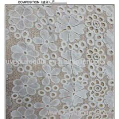 Ivory Polyester Embroidered Lace Fabric By The Yard (S8093)