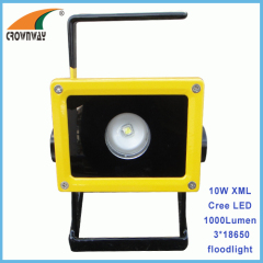 10W XML T6 Cree Led floodlight 3*18650 Lithium rechargeable Led working lamp 1000Lumen high power spot light