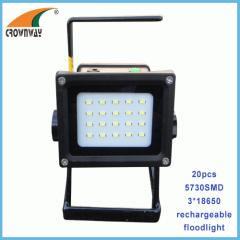 20pcs SMD Portable Lantern 3*18650 rechargeable floodlight 800Lumen super bright white spotlight