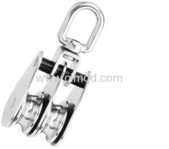 Pulley AISI316 Double With Swivel and Nylon Distance Holder