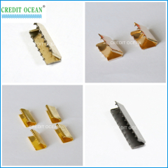 Metal end clip for elastic band