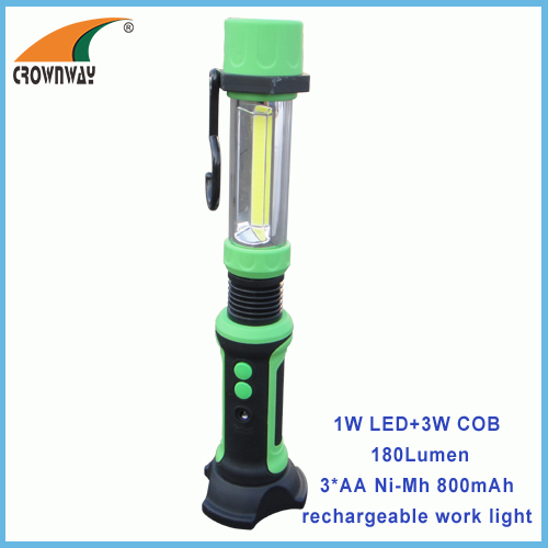 3W COB 250Lumen magnet and hook working light 3AA Ni-Mh repairing lamp magnet 240V camping lantern 12V car rechargeable