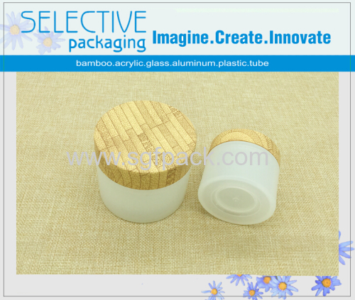 30G/50G/100G WOODEN BAMBOO PATTERN TRANSPARENT CREAM JAR COSMETIC CONTAINER