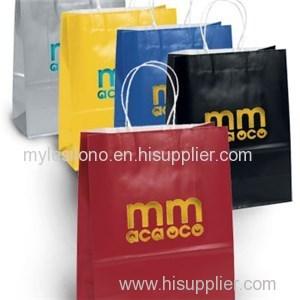 Amber Gloss Foil Hot Stamp Logo Shopping Paper Bags