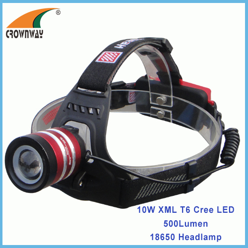 10W XML T6 Cree LED Headlamp 500Lumen aluminum durable headlight camping lantern 1*18650 fishing lamp CE RoHS