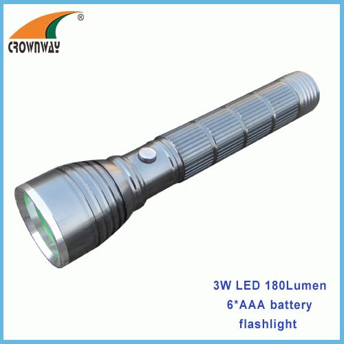 3W LED 180Lumen flashlights 6*AAA big size hand torch aluminum emergency lamp outdoor camping lantern