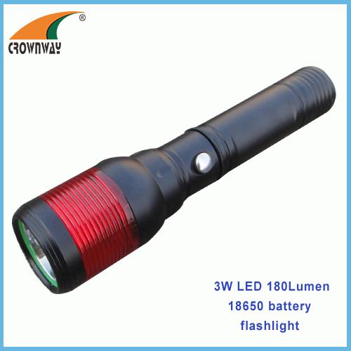 3W LED flashlight 18650 Lithium rechargeable torch magnet working lamp 180Lumen Red warning lantern CE RoHS