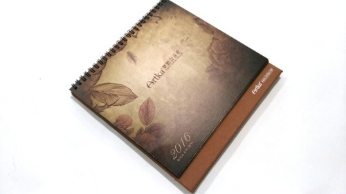 Kraft paper desk calendar with slipcase