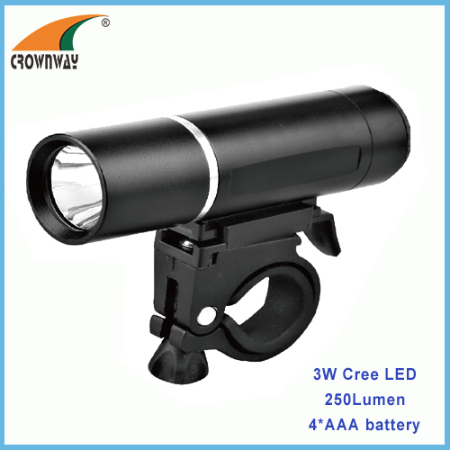 1W LED 80Lumen bicycle light aluminum shock resistance 4*AAA battery heavy duty outdoor lamp CE RoHS approved