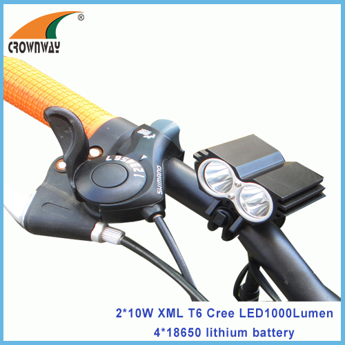 2*10W XML T6 Cree LED bike lights 900Lumen high power bicycle light 18650 battery 6000mAh rechargeable waterproof lamp
