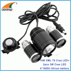 10W T6+2pcs 3W Cree LED Bicycle light 4*18650 PCB battery 6400mAh headlamp outdoor camping lantern waterproof IP65 ROHS