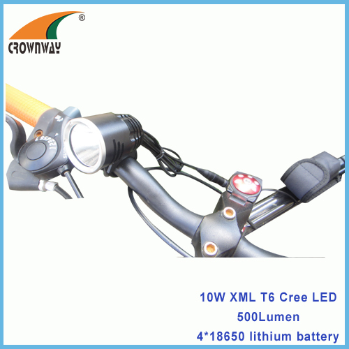 10W XML T6 Cree LED Bicycle light 500Lumen high power 4*18650/6400mAh rechargeable bike lights headlamp CE RoHS