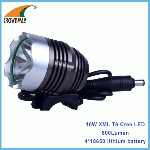 10W XML T6 Cree LED Bicycle light 500Lumen high power 4*18650/6400mAh rechargeable bike lights headlamp RoHS waterproof