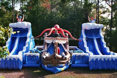 Pirate cove wet and dry wave water slide with octopus