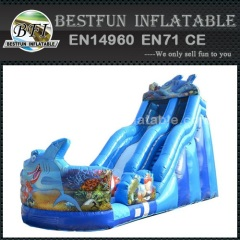 Large shark PVC Outdoor Inflatable slides jumping
