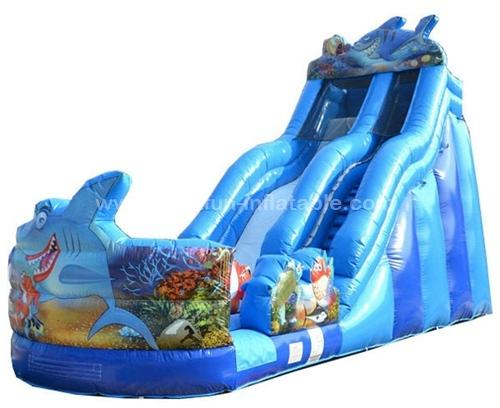 Shark water slide sea inflatable wet dry slide
