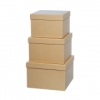 Gift Box Square Set of 3 Brown Kraft paper box storage boxes cardboard