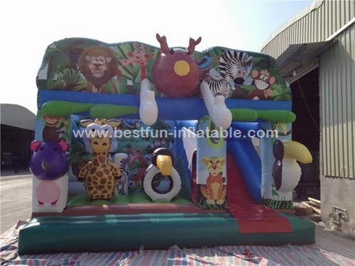 Funny Inflatable Jungle Theme Bouncy Castle animal zoo bounce hosue