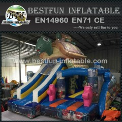 Vivid Printing Turtle Inflatable Bouncer Slide