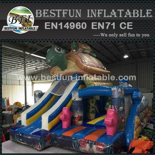 Vivid Printing Turtle Inflatable Bouncer Slide