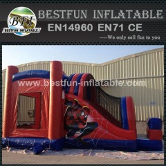 Commercial Inflatable Spiderman Jumping Bouncy Slide