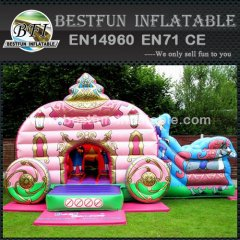 Beauty princess carriage inflatable bouncer slide