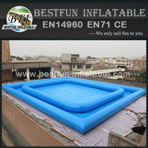 Portable rectangular inflatable pool for swimming