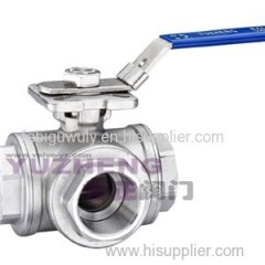 3 Way Stainless Steel Ball Valve ISO 5211 Pad With Lever Handle