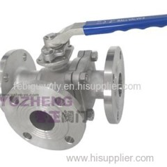 Stainless Steel 3Way Flanged Ball Valve With Handle