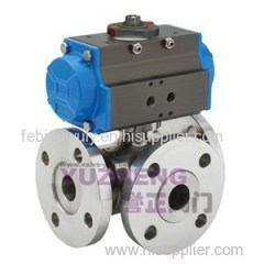 Stainless Steel 3Way Flanged Ball Valve With Pnematic Actuator