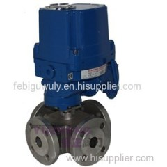SS304 3Way Flange Electric Ball Valve