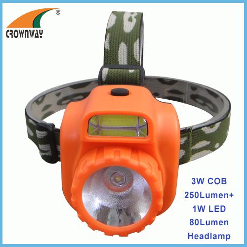 2W COB 200Lumen headlamp 1W LED 80Lumen headlight camping headlight fishing lamp outdoor emergency light 3*AA battery