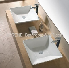 Sanitary ware Ceramic Counter Top Square Art Wash Basin
