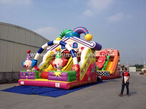 Amusing promotional cheap creative inflatable happy clown slide