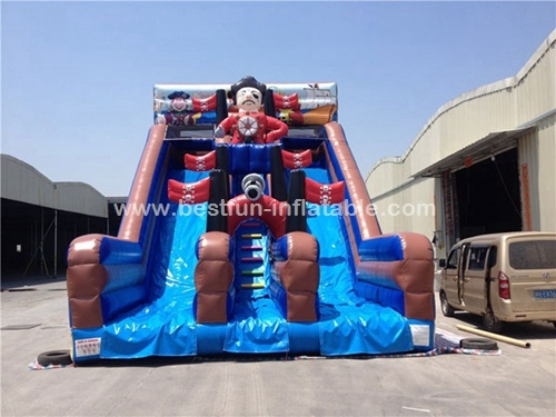 Commercial use big two lanes inflatable pirate slide