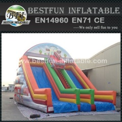 Inflatable slide decorated with fire truck