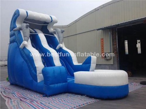 Inflatable dolphin water slide with pool for backyard
