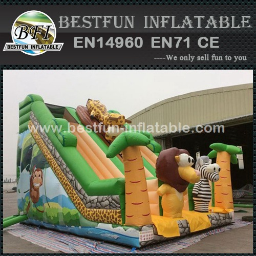Giant Jungle Theme Inflatable Slide