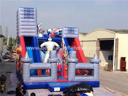 Inflatable super heroes combo jumping bounce slide