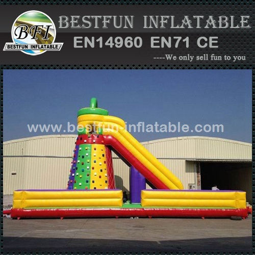 Inflatable slide with rock climbing wall for sale