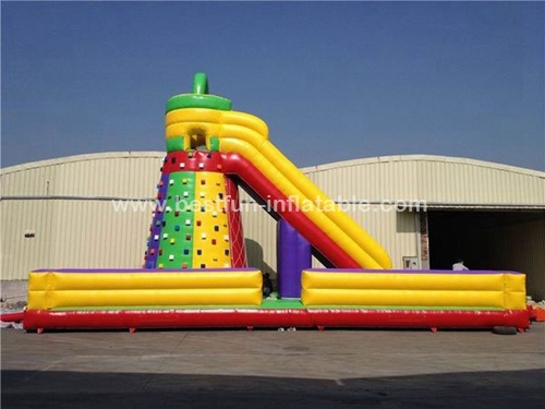 Rock climbing wall and slide inflatable sports games