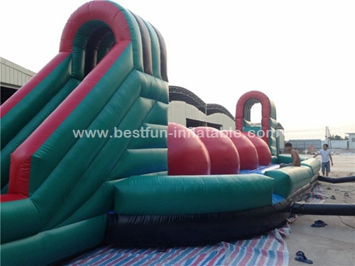 Inflatable challenges running ball games