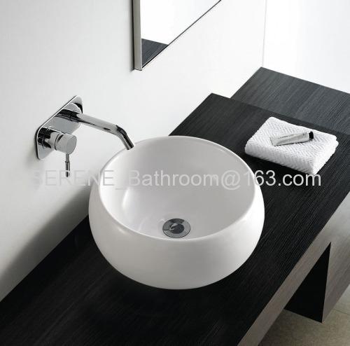 Hot sell sanitary ware bathroom ceramic round slim edge washbasin