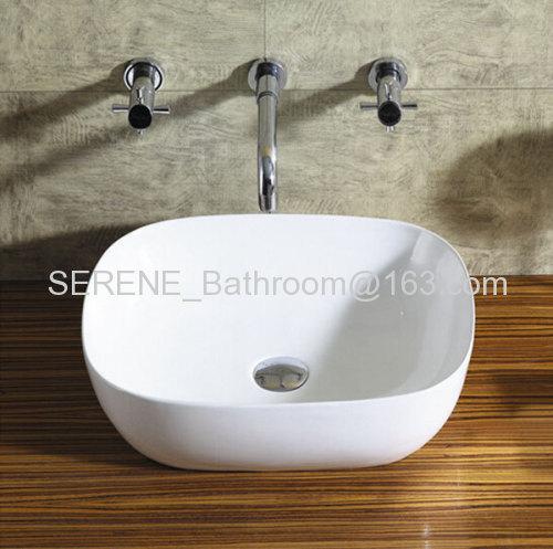 Hot sell slim edge ceramic white art wash basin