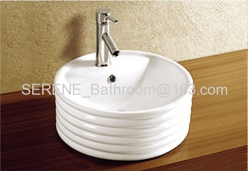 Hot Sell Ceramic Round White Counter Top Art Basin