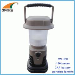 3W Led camping light 180Lumen high powe portable lantern 3*AA hook tent lamp