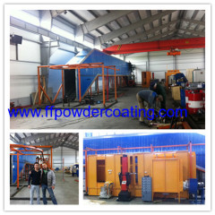 powder coating spray line with spray booth and reciprocator