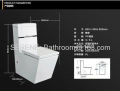 Sanitary ware Ceramic One Piece Toilet S-trap 250/300mm Roughing-in P-trap 180mm Roughing-in