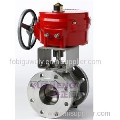 2PC Flange Electric Ball Valve With V Type Ball