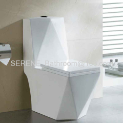Bathroom Ceramic Diamond Style One Piece Siphon Toilet S-trap 300mm Roughing-in